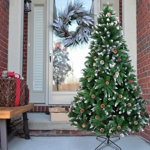 Artificial Christmas Tree 6,7 Foot Flocked Snow Trees Pine Cone Decoration Unlit