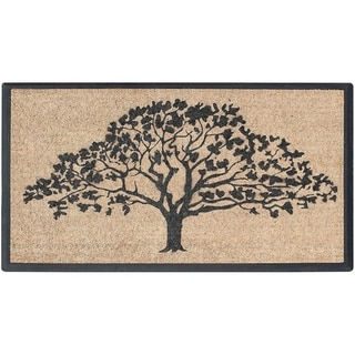 "A1HC First Impression Hand-Crafted Rubber Coir Life of Tree Double Door Mat, 30""X48"""