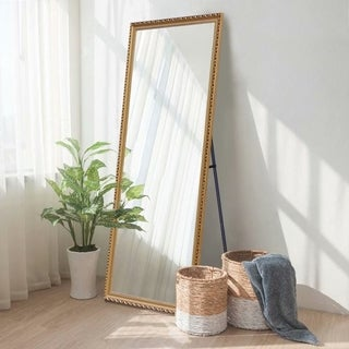 Retro Golden Full Length Floor Mirror Standing Leaning or Wall-Mounted - 64.17x21.26