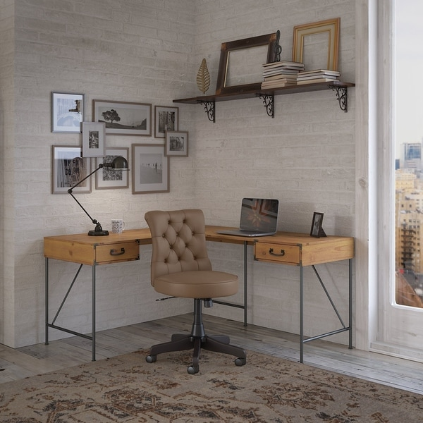 Ironworks 60W L Desk with Tufted Office Chair by kathy ireland® Home