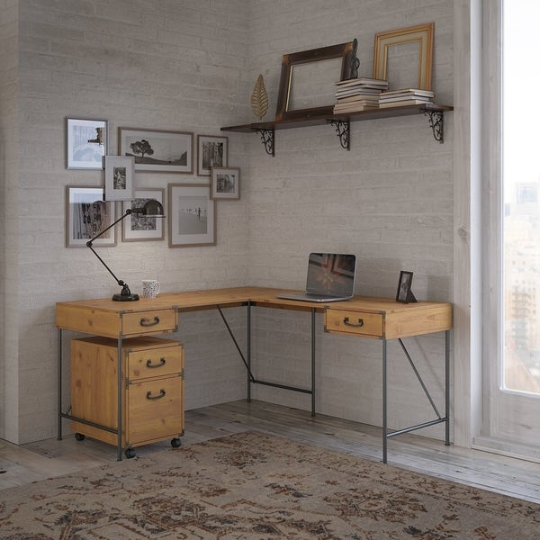 Ironworks 60W L Desk with Mobile File Cabinet by kathy ireland® Home