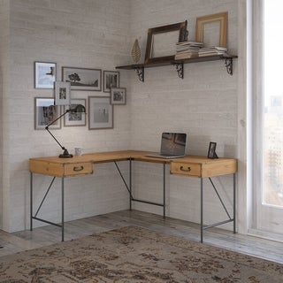 Ironworks 60W L Shaped Desk from kathy ireland® Home by Bush Furniture