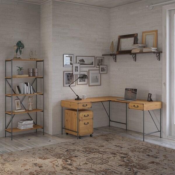 Ironworks 60W L Shaped Desk with Storage by kathy ireland® Home