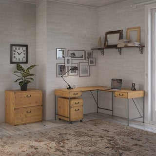 Ironworks 60W L Shaped Desk with File Cabinets by kathy ireland® Home