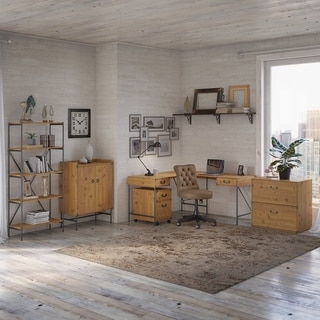 Ironworks 60W L Desk with Chair and Storage by kathy ireland® Home