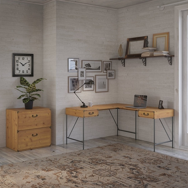 Ironworks 60W L Desk with Lateral File Cabinet by kathy ireland® Home