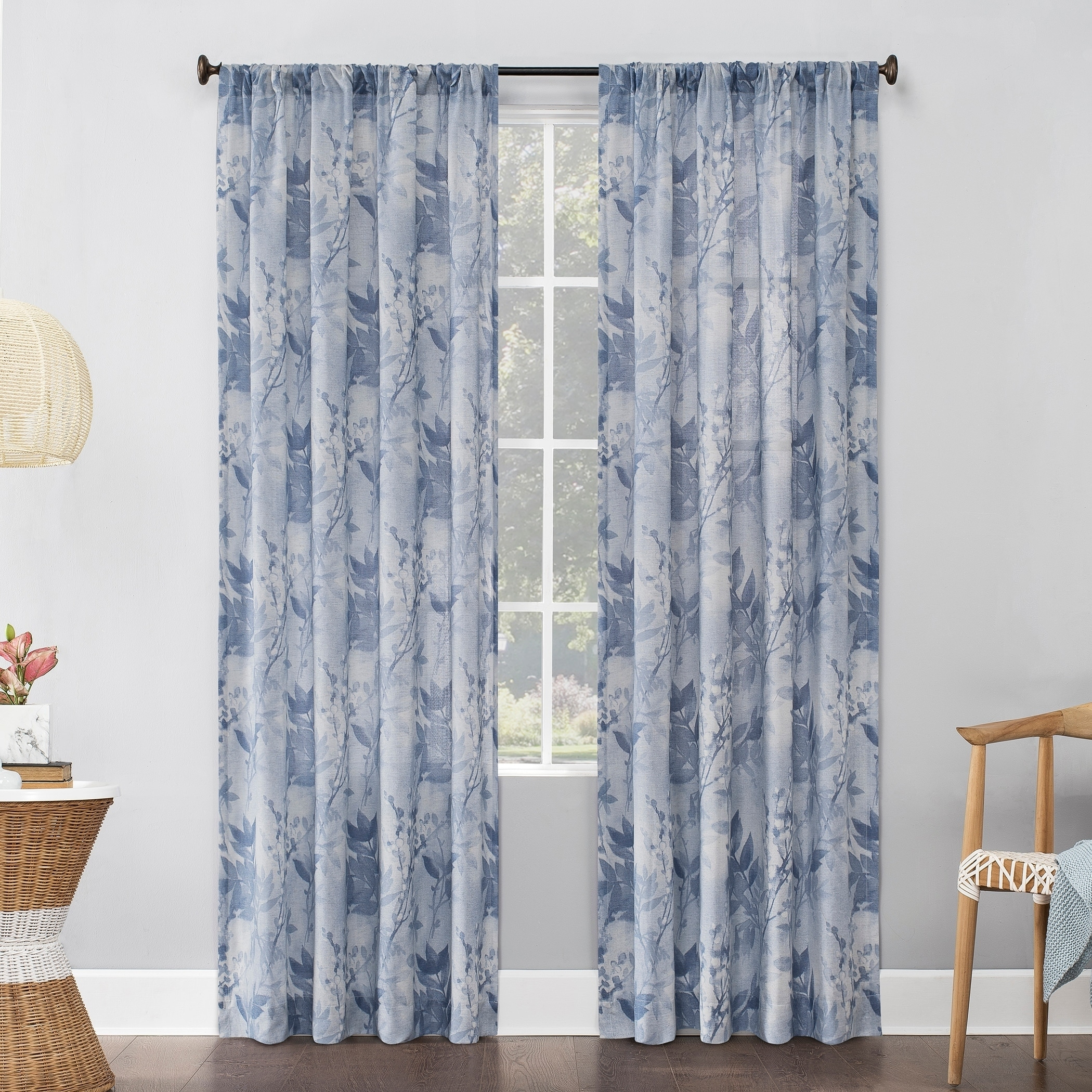 Shop For No 918 Hilary Watercolor Floral Linen Blend Semi Sheer Rod Pocket Curtain Panel Get Free Delivery On Everything At Overstock Your Online Home Decor Outlet Store Get 5 In Rewards With Club O 29861543