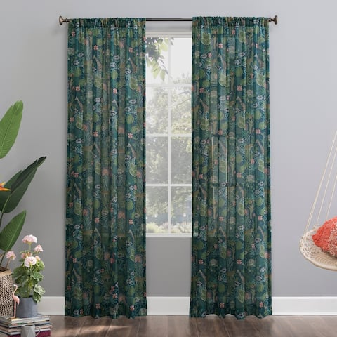 No. 918 Senegal Night Safari Semi-Sheer Rod Pocket Curtain Panel