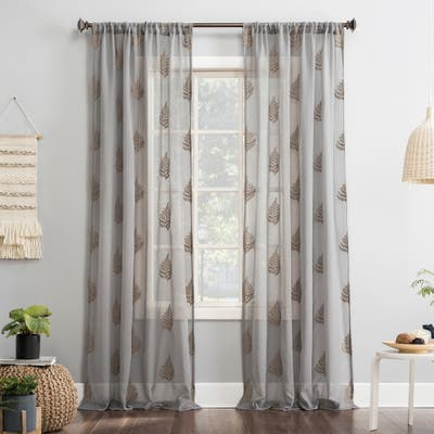 No. 918 Fern Embroidered Fern Sheer Rod Pocket Curtain Panel, Single Panel
