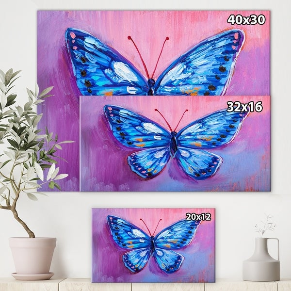 BLUE BUTTERFLY WHITE FLOWER CANVAS PRINT PICTURE WALL ART READY TO HANG