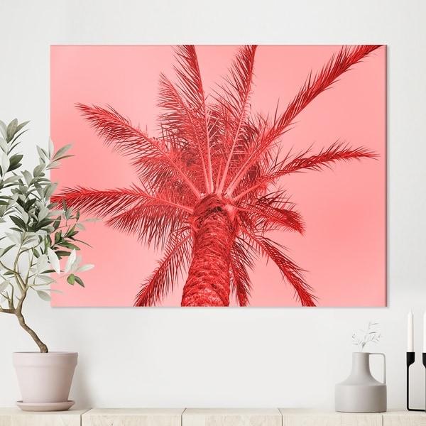 Designart 'Palm tree on summer card' Tropical Canvas Wall Art