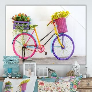 Designart 'Retro fancy bicycle' Cottage Canvas Wall Art