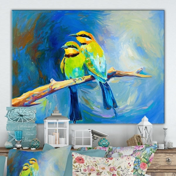 Designart 'Blue tailed bee eaters' Cottage Canvas Wall Art