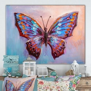 Designart 'Oil painting , beautiful butterfly' Cottage Canvas Wall Art