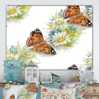 Designart 'Seamless pattern with butterflies and flowers' Cottage Canvas Wall Art