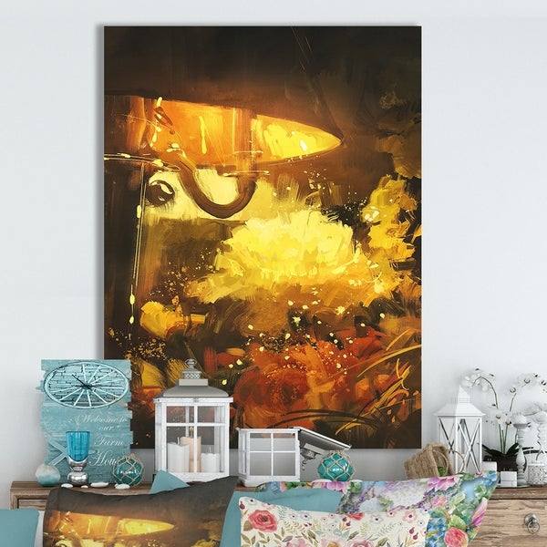 Designart 'Flowers and lamp glowing orange' Cottage Canvas Wall Art