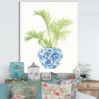 Designart 'Palm Chinoiserie White II' Cottage Canvas Wall Art