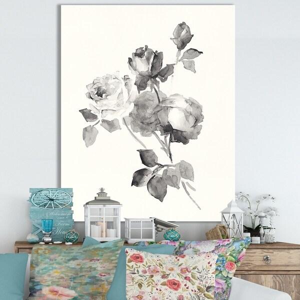 Porch & Den 'Rose Blossoms Gray' Cottage Canvas Wall Art