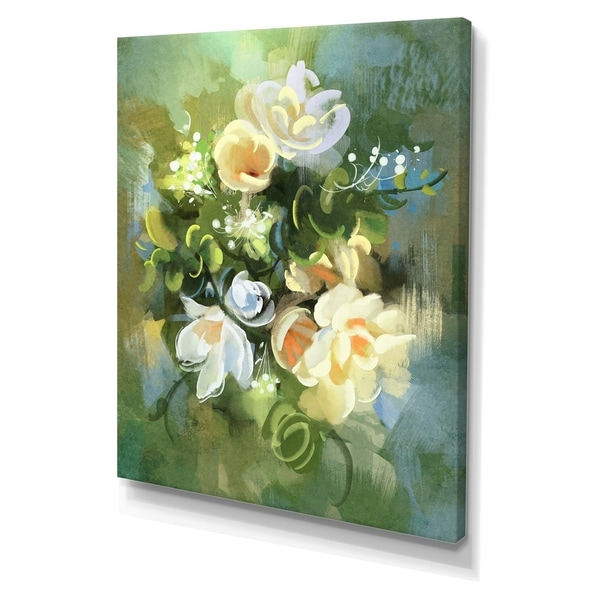 Designart 'Digital painting of colorful abstract flowers' Cottage Canvas Wall Art