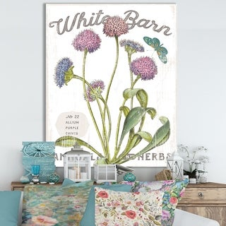 Designart ' White Barn Flowers VI' Cottage Canvas Wall Art