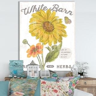 Designart ' White Barn Flowers I' Cottage Canvas Wall Art