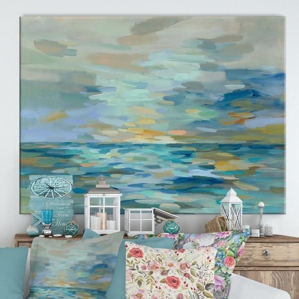Porch & Den 'Pastel Blue Sea' Cottage Canvas Wall Art