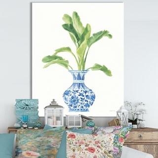 Designart 'Palm Chinoiserie White I' Cottage Canvas Wall Art