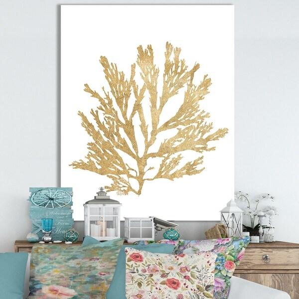 Designart 'Pacific Sea Mosses I Gold' Cottage Canvas Wall Art