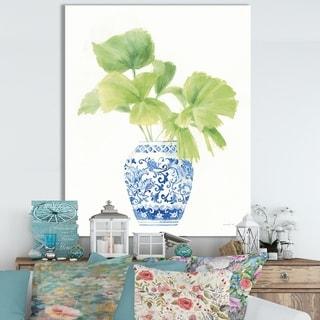 Designart 'Palm Chinoiserie White IV' Cottage Canvas Wall Art