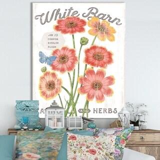Designart ' White Barn Flowers III' Cottage Canvas Wall Art