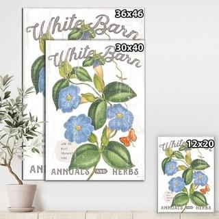 Designart ' White Barn Flowers II' Cottage Canvas Wall Art