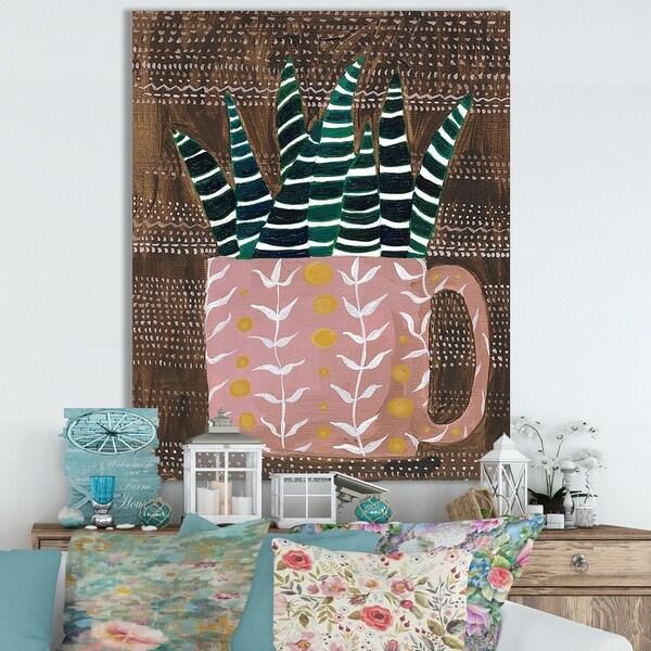 Designart ' Succulent Cup' Cottage Canvas Wall Art