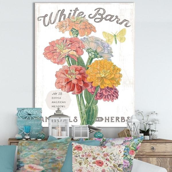 Designart ' White Barn Flowers V' Cottage Canvas Wall Art