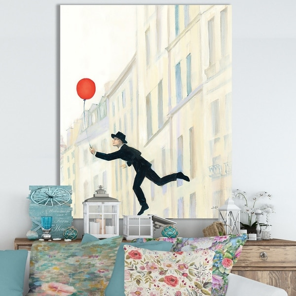 Designart 'RW Aloft In Paris III' Cottage Canvas Wall Art