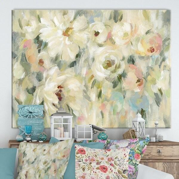 Designart ' Expressive Pale Floral' Cottage Canvas Wall Art