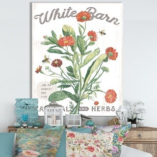 Designart ' White Barn Flowers IV' Cottage Canvas Wall Art