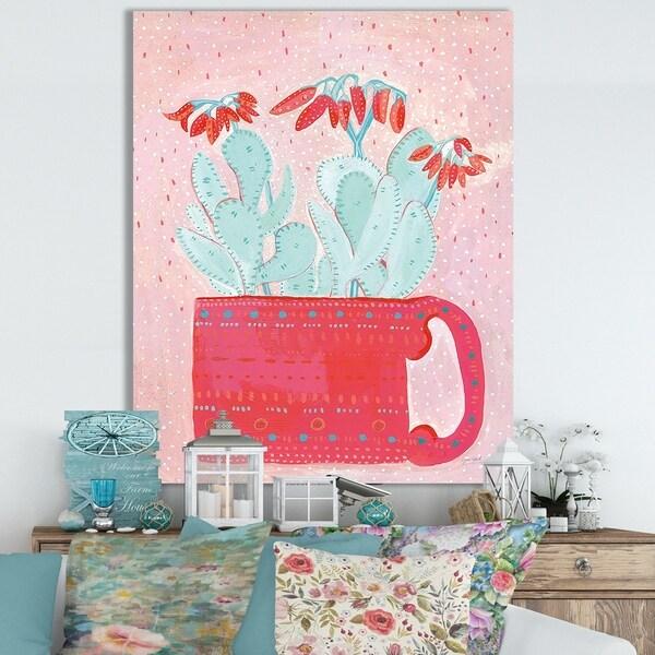 Designart ' Coral Cuppa' Cottage Canvas Wall Art