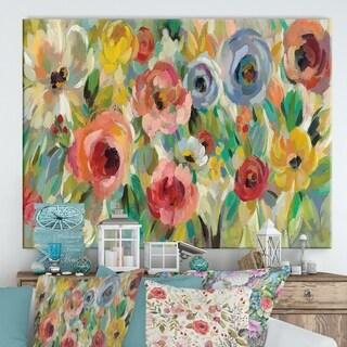 Designart ' Vivid Coral Floral I' Cottage Canvas Wall Art