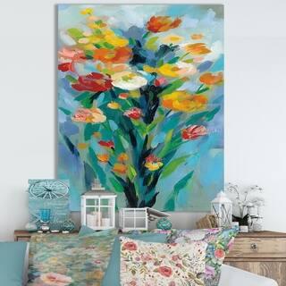 Designart ' Tall Bright Flowers II' Cottage Canvas Wall Art