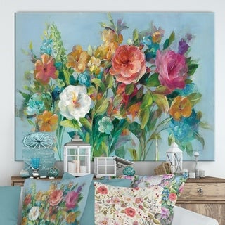 Designart 'Country Florals' Cottage Canvas Wall Art