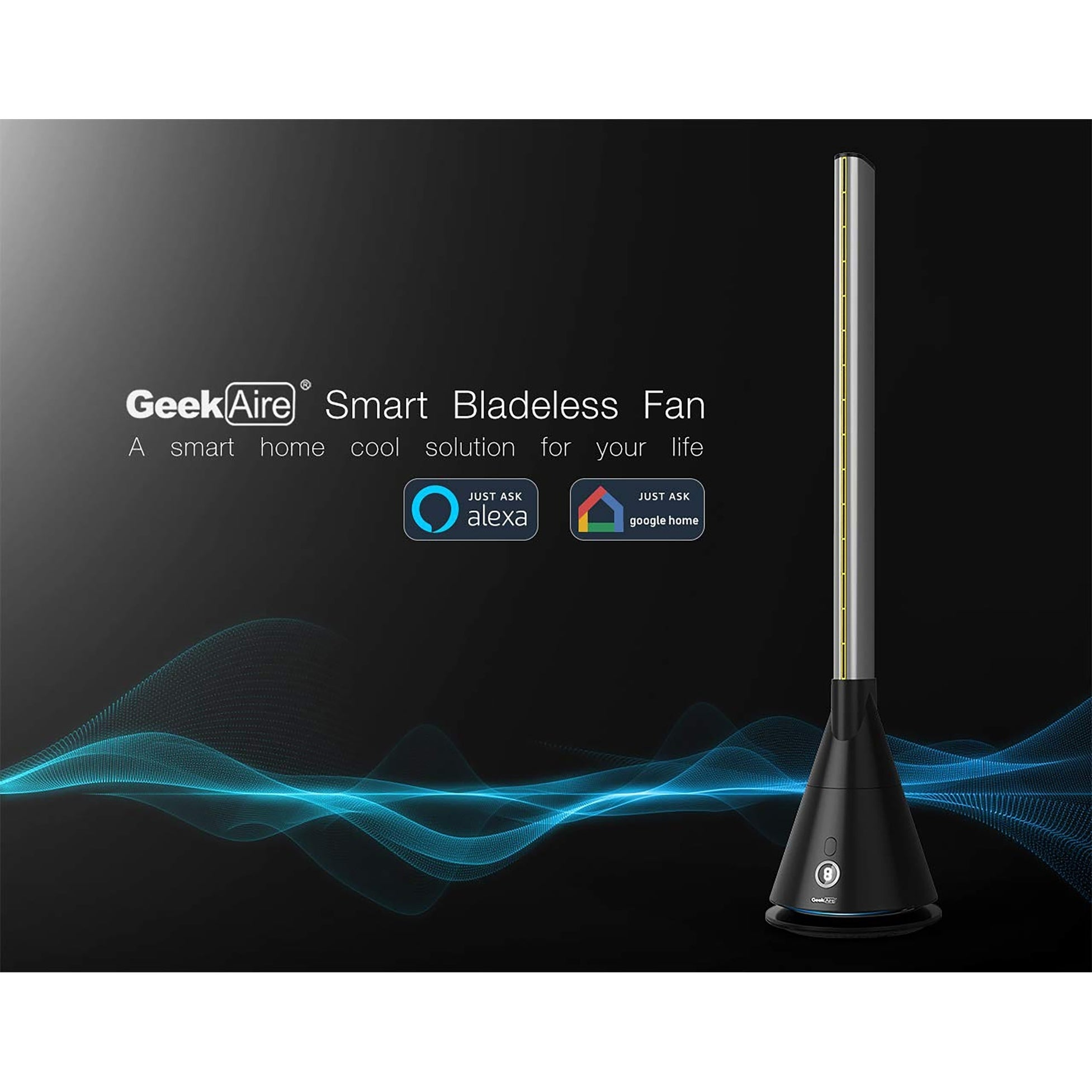 Geek Aire BF1S 40 Inch Bladeless Tower Fan Oscillating 9 Speed and Remote Black