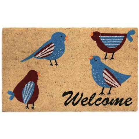 Welcome Birds Coir Door Mat - 18W x 30L