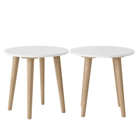 Copper Grove Gretta Round Wood End Tables (Set of 2)