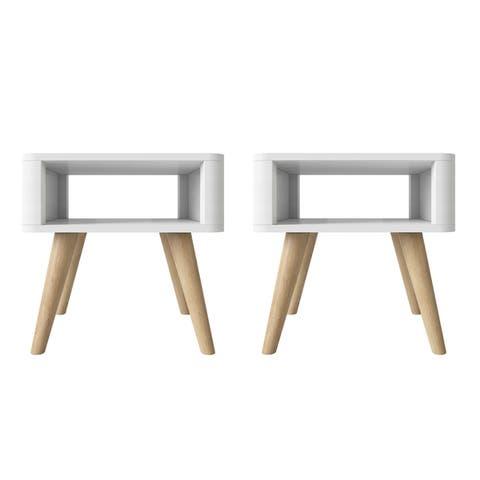 Carson Carrington Jordee Mid Century Modern Wood End Tables (Set of 2)