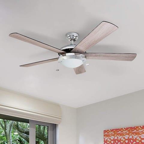 Prominence Home Bolivar Ceiling Fan, Modern Farmhouse, 5 Barnwood Blades, Chrome - 52-inch