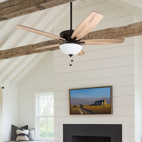 Prominence Home Denon Large Great Room Ceiling Fan, LED Cased White Bowl, Barnwood Blades, Espresso - 60-inch