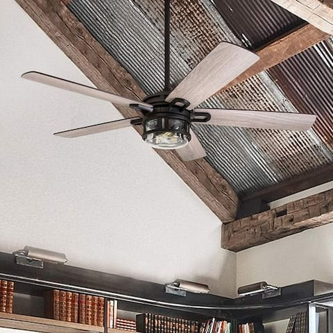 Honeywell Bontera Ceiling Fan with Remote Control, Rustic Farmhouse, Barnwood Blades, LED Seeded Glass Fixture, Matte Black