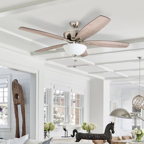 Prominence Home Denon Large Great Room Ceiling Fan, LED Cased White Bowl, Barnwood Blades, Brushed Nickel - 60-inch