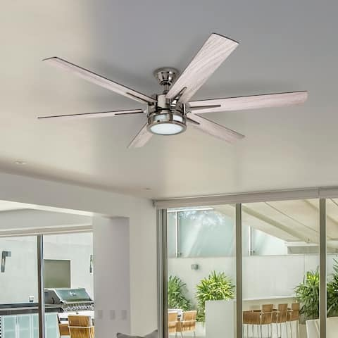 Honeywell Kaliza LED Ceiling Fan with Remote Control, Contemporary Modern, 6 Blades, Gun Metal - 56-inch