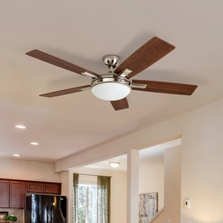Link to Copper Grove Garff 52-inch Brushed Nickel Ceiling Fan with Remote Similar Items in Ceiling Fans
